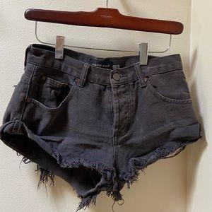 Black denim short shorts